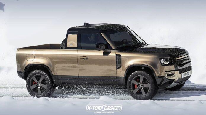 Nuova Land Rover Defender 2022, il pickup in Rendering