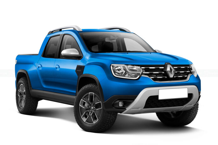 Nuova Dacia Duster pickup 2022, il Rendering della cabina doppia