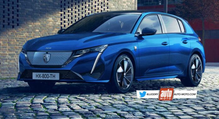 Nuova Peugeot 308 2022, il Rendering della 100% Elettrica