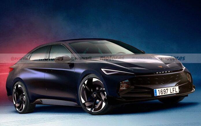 Il rendering della nuova berlina elettrica Cupra, arriva nel 2025